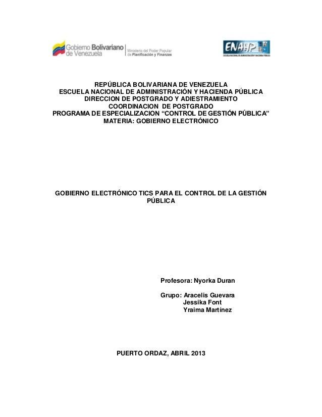REPÚBLICA BOLIVARIANA DE VENEZUELA  ESCUELA NACIONAL DE ADMINISTRACIÓN Y HACIENDA PÚBLICA        DIRECCION DE POSTGRADO Y ...