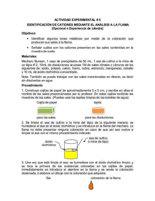 ACTIVIDAD EXPERIMENTAL # 5IDENTIFICACIÓN DE CATIONES MEDIANTE EL ANÁLISIS A LA FLAMA(Opcional o Experiencia de cátedra)Obj...