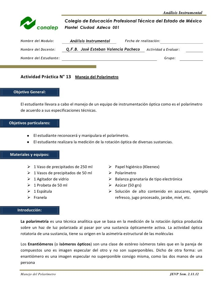 Análisis Instrumental                                Colegio de Educación Profesional Técnica del Estado de México        ...