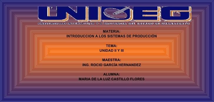 MATERIA: INTRODUCCION A LOS SISTEMAS DE PRODUCCIÓN                   TEMA:               UNIDAD II Y III                  ...