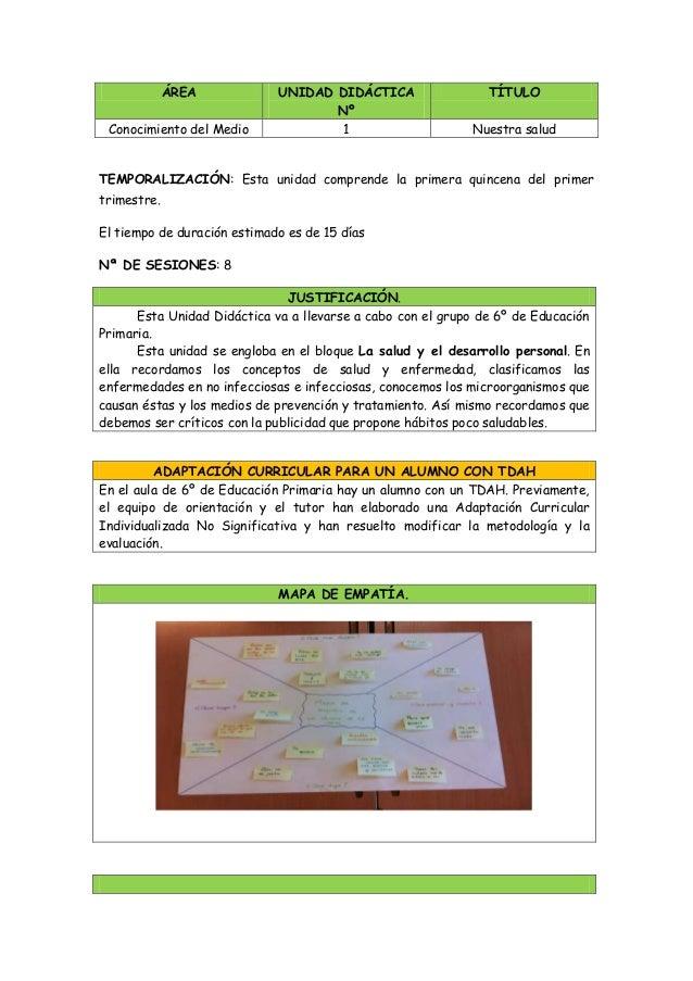 ÁREA UNIDAD DIDÁCTICA Nº TÍTULO Conocimiento del Medio 1 Nuestra salud TEMPORALIZACIÓN: Esta unidad comprende la primera q...