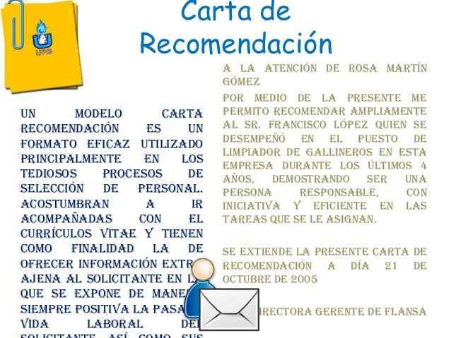 modelos de cartas de recomendaciones
