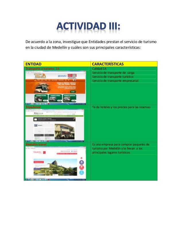 De acuerdo a la zona, investigue que Entidades prestan el servicio de turismo en la ciudad de Medellín y cuáles son sus pr...