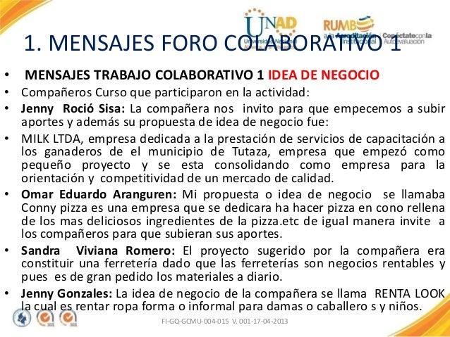 1. MENSAJES FORO COLABORATIVO 1 • MENSAJES TRABAJO COLABORATIVO 1 IDEA DE NEGOCIO • Compañeros Curso que participaron en l...