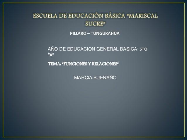 """PILLARO – TUNGURAHUA AÑO DE EDUCACION GENERAL BASICA: 5TO """"A"""" TEMA: """"FUNCIONES Y RELACIONES"""" MARCIA BUENAÑO"""
