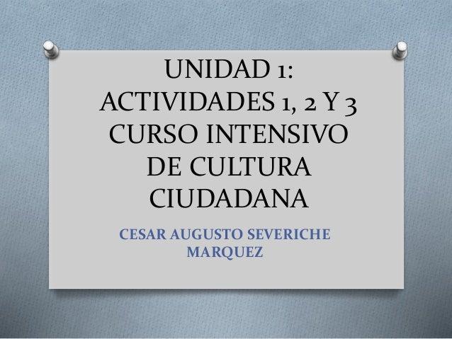 UNIDAD 1: ACTIVIDADES 1, 2 Y 3 CURSO INTENSIVO DE CULTURA CIUDADANA CESAR AUGUSTO SEVERICHE MARQUEZ