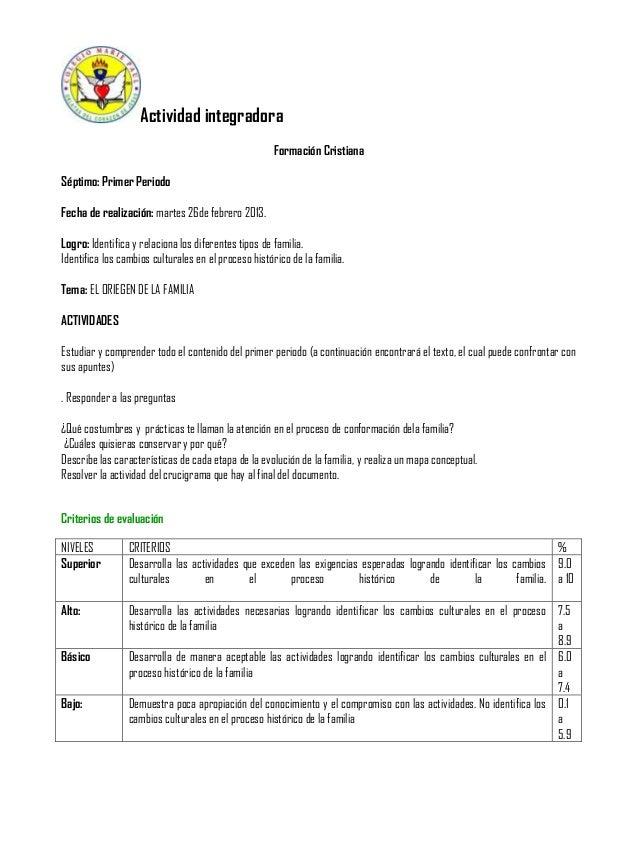 Actividad integradora Formación Cristiana Séptimo: Primer Periodo Fecha de realización: martes 26de febrero 2013. Logro: I...