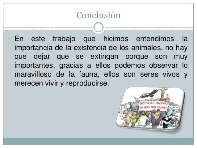 Conclusión En este trabajo que hicimos entendimos la importancia de la existencia de los animales, no hay que dejar que se...