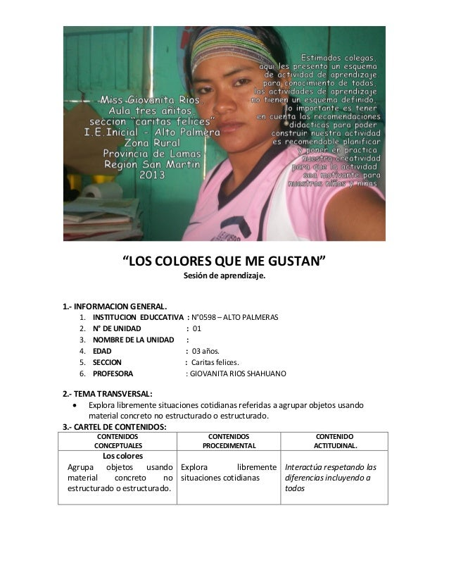 """""""LOS COLORES QUE ME GUSTAN"""" Sesión de aprendizaje. 1.- INFORMACION GENERAL. 1. INSTITUCION EDUCCATIVA : N°0598 – ALTO PALM..."""