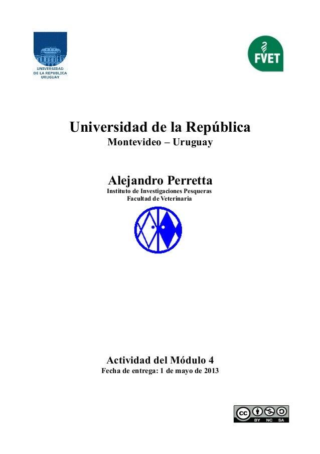 Universidad de la RepúblicaMontevideo – UruguayAlejandro PerrettaInstituto de Investigaciones PesquerasFacultad de Veterin...