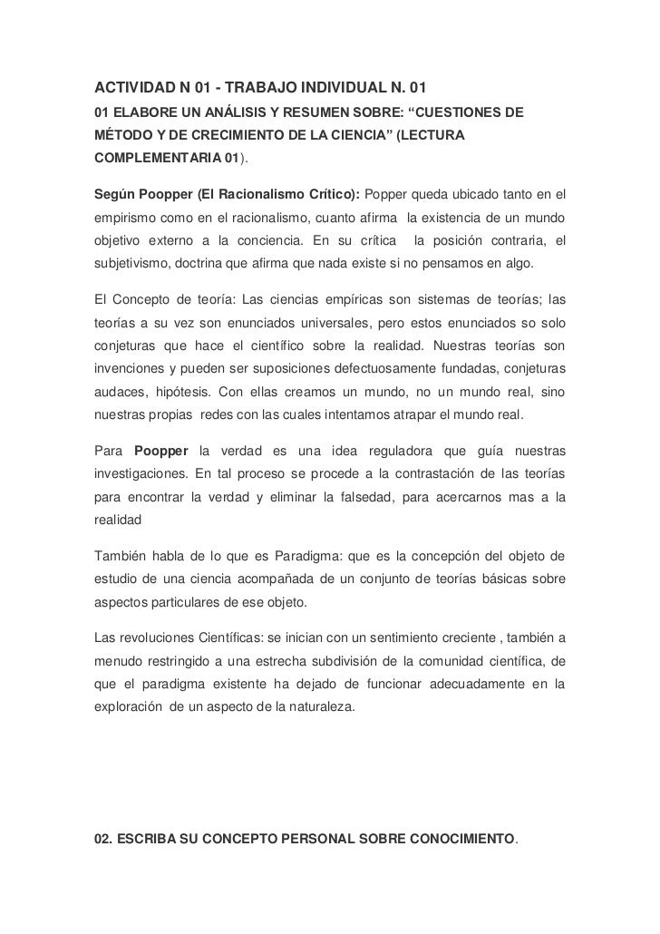 """ACTIVIDAD N 01 - TRABAJO INDIVIDUAL N. 01 <br />01 ELABORE UN ANÁLISIS Y RESUMEN SOBRE: """"CUESTIONES DE MÉTODO Y DE CRECIMI..."""