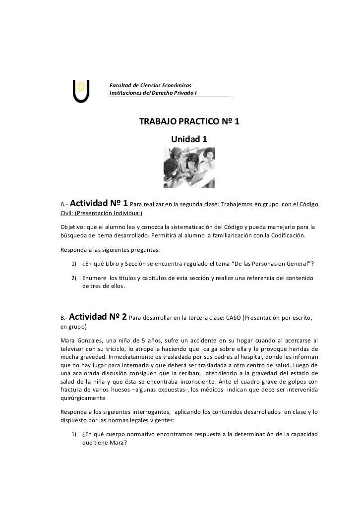 Facultad de Ciencias Económicas                  Instituciones del Derecho Privado I                             TRABAJO P...