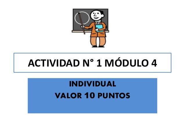 ACTIVIDAD N° 1 MÓDULO 4INDIVIDUALVALOR 10 PUNTOS