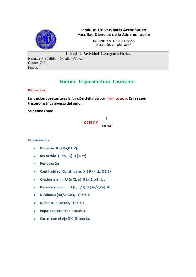 Instituto Universitario Aeronáutico Facultad Ciencias de la Administración INGENIERÍA DE SISTEMAS Matemática II plan 2017 ...