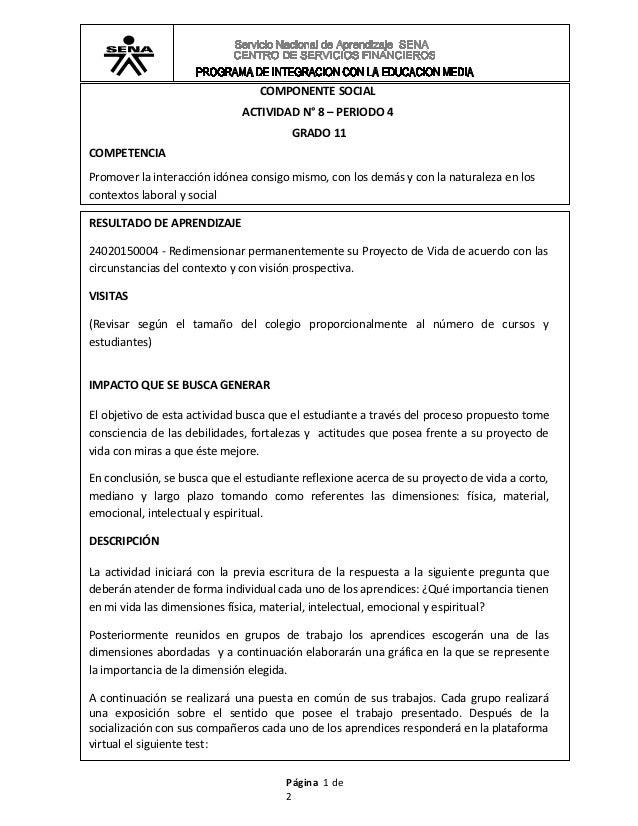 COMPONENTE SOCIAL                              ACTIVIDAD N° 8 – PERIODO 4                                        GRADO 11C...