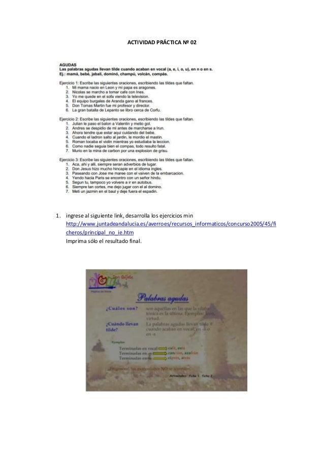 ACTIVIDAD PRÁCTICA Nº 021. ingrese al siguiente link, desarrolla los ejercicios min   http://www.juntadeandalucia.es/averr...