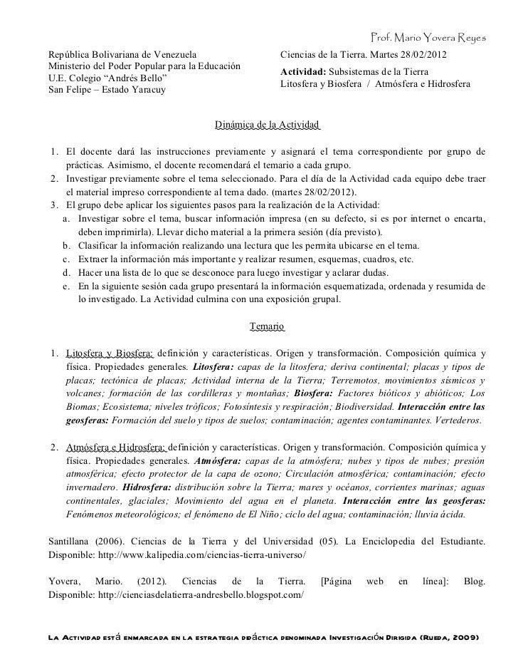 Prof. Mario Yovera ReyesRepública Bolivariana de Venezuela                      Ciencias de la Tierra. Martes 28/02/2012Mi...