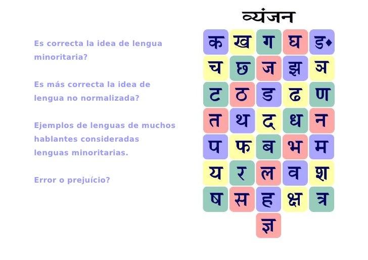 Es correcta la idea de lenguaminoritaria?Es más correcta la idea delengua no normalizada?Ejemplos de lenguas de muchoshabl...