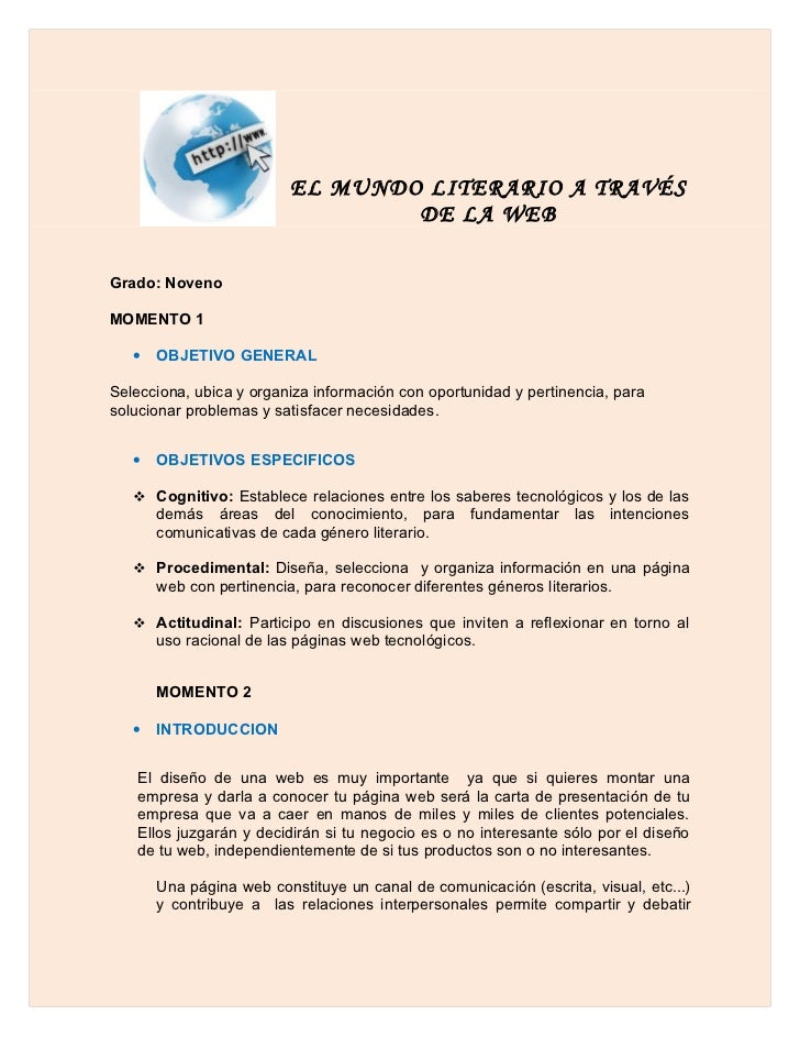 EL MUNDO LITERARIO A TRAVÉS                                  DE LA WEBGrado: NovenoMOMENTO 1   •   OBJETIVO GENERALSelecci...