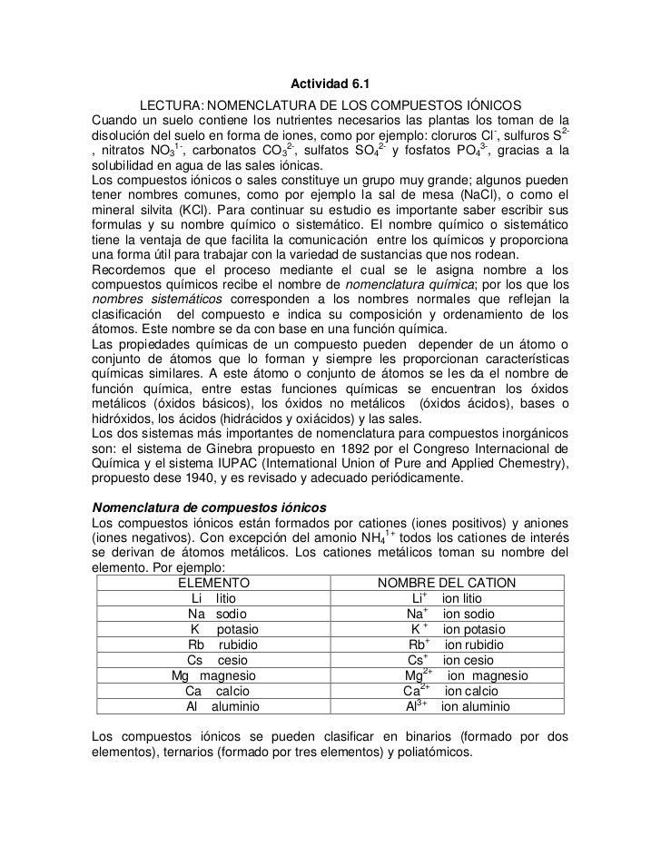 Actividad 6.1         LECTURA: NOMENCLATURA DE LOS COMPUESTOS IÓNICOSCuando un suelo contiene los nutrientes necesarios la...