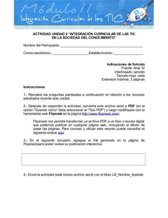 """ACTIVIDAD UNIDAD 2 """"INTEGRACIÓN CURRICULAR DE LAS TICEN LA SOCIEDAD DEL CONOCIMIENTO""""Nombre del Participante: ____________..."""