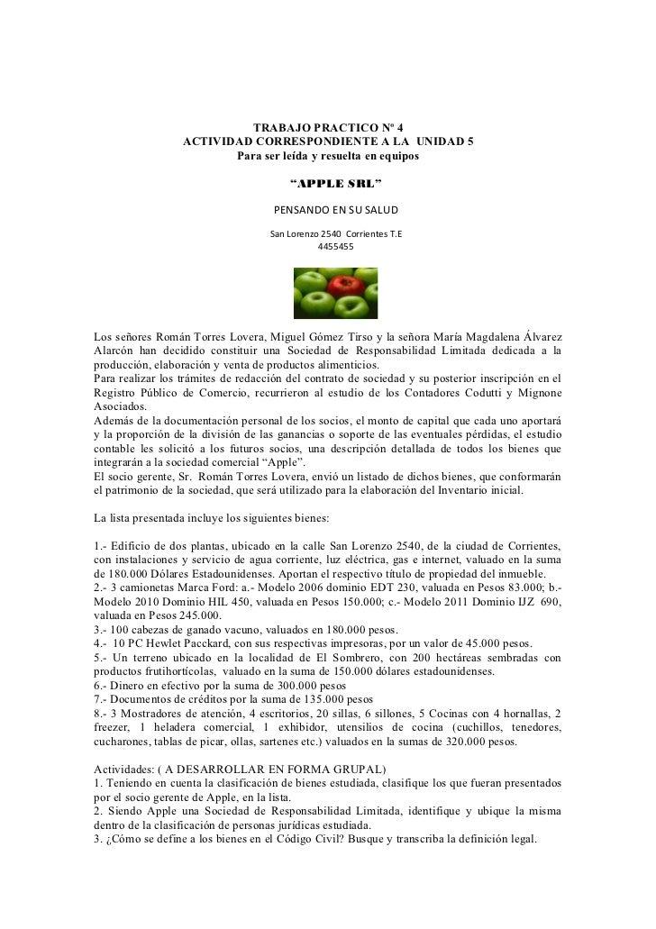 TRABAJO PRACTICO Nº 4                  ACTIVIDAD CORRESPONDIENTE A LA UNIDAD 5                         Para ser leída y re...