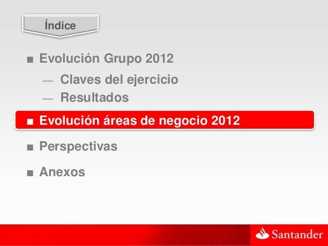20  Índice■ Evolución Grupo 2012  — Claves del ejercicio  — Resultados■ Evolución áreas de negocio 2012■ Perspectivas■ Ane...