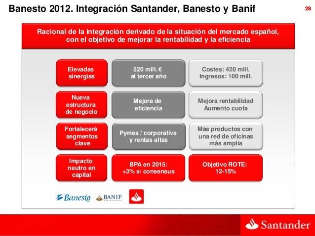 Banesto 2012. Integración Santander, Banesto y Banif                             28      Racional de la integración deriva...