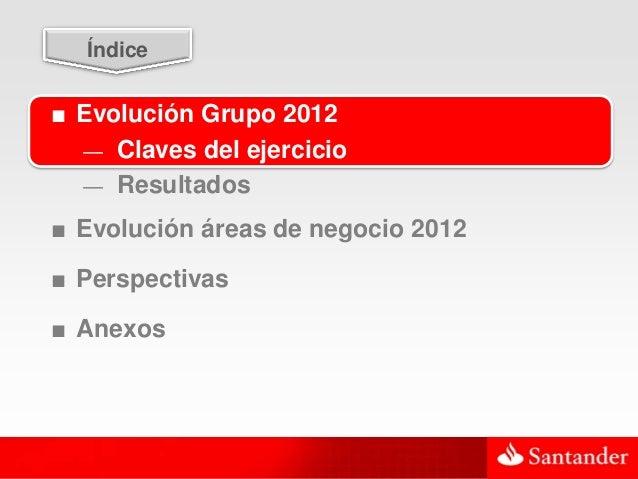 3  Índice■ Evolución Grupo 2012  — Claves del ejercicio  — Resultados■ Evolución áreas de negocio 2012■ Perspectivas■ Anexos