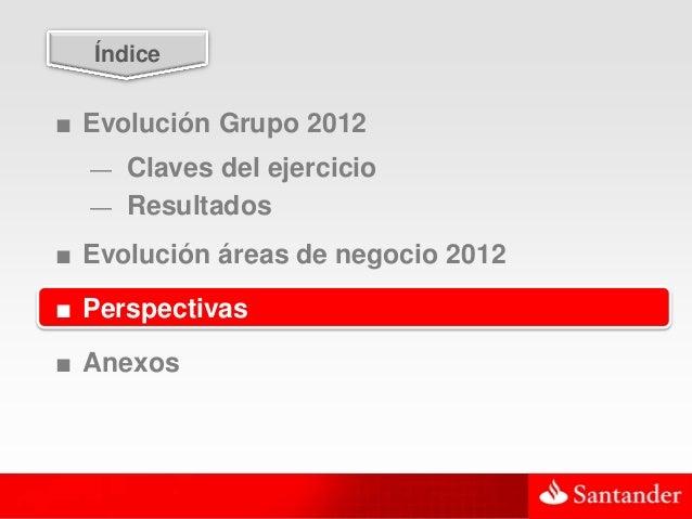 44  Índice■ Evolución Grupo 2012  — Claves del ejercicio  — Resultados■ Evolución áreas de negocio 2012■ Perspectivas■ Ane...