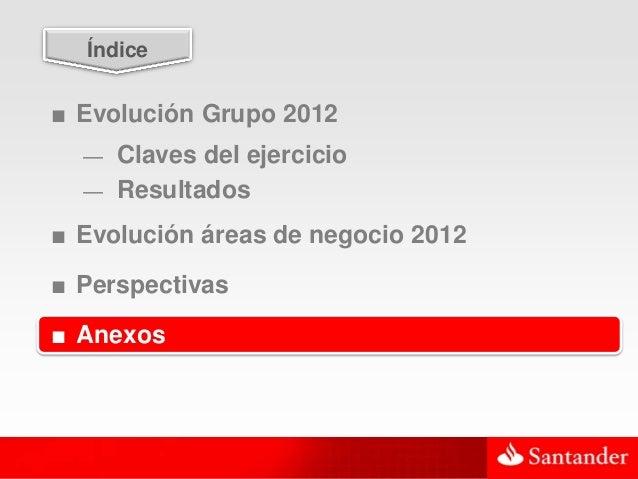 48  Índice■ Evolución Grupo 2012  — Claves del ejercicio  — Resultados■ Evolución áreas de negocio 2012■ Perspectivas■ Ane...