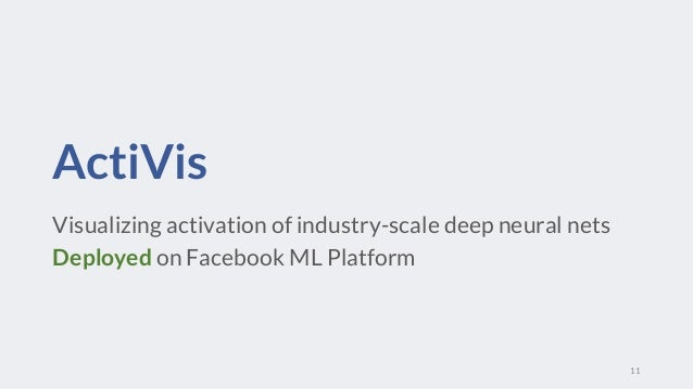 ActiVis Visualizing activation of industry-scale deep neural nets Deployed on Facebook ML Platform 11