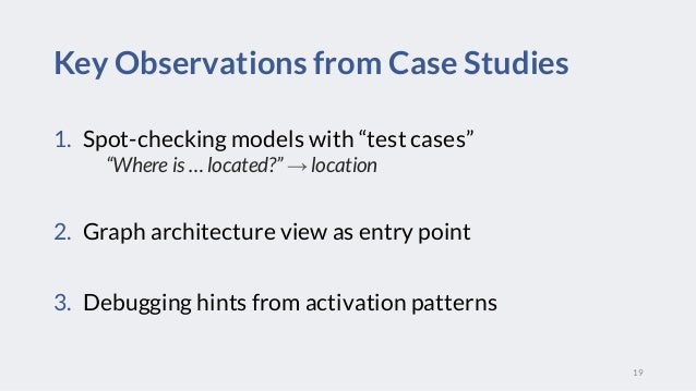 """Spot1. -checking models with """"test cases"""" """"Where is … located?"""" → location Graph architecture view as entry point2. Debugg..."""