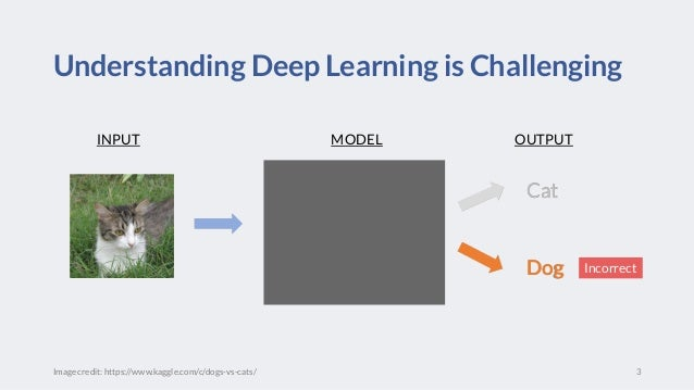 Understanding Deep Learning is Challenging 3 Cat Dog Cat Dog INPUT OUTPUTMODEL Image credit: https://www.kaggle.com/c/dogs...