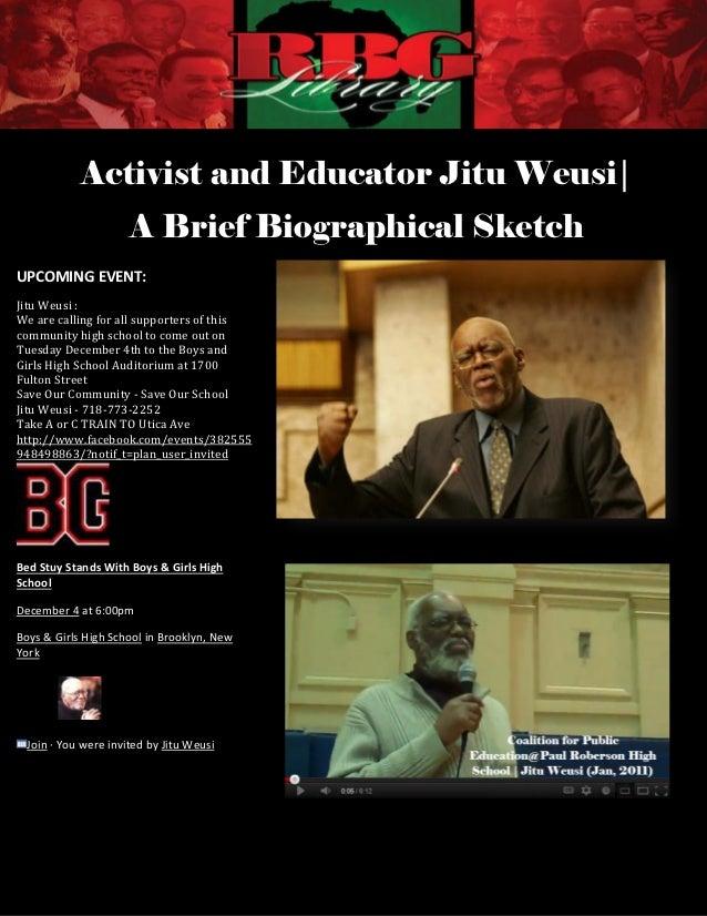 Activist and Educator Jitu Weusi|                     A Brief Biographical SketchUPCOMING EVENT:Jitu Weusi :We are calling...