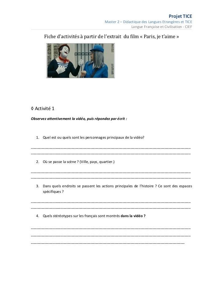 Projet TICE                                              Master 2 – Didactique des Langues Etrangères et TICE             ...