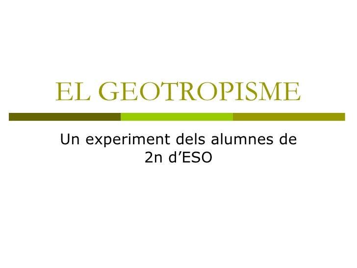 EL GEOTROPISME Un experiment dels alumnes de 2n d'ESO