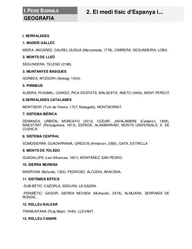 I. PERE BARNILS 2. El medi físic d'Espanya i... GEOGRAFIA I. SERRALADES 1. MASSÍS GALLEC MEIRA, ANCARES, CAUREL QUEIJA (Ma...