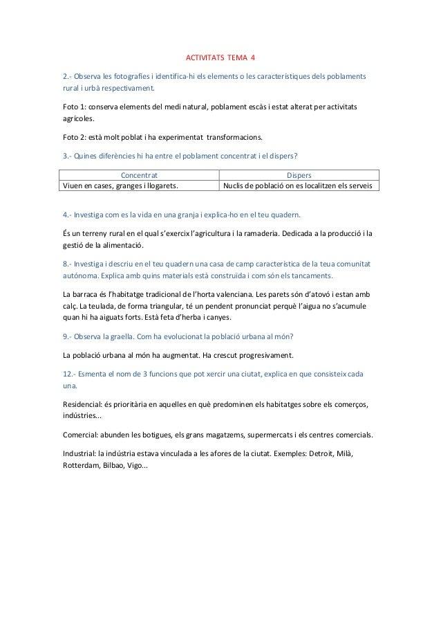 ACTIVITATS TEMA 42.- Observa les fotografíes i identifica-hi els elements o les característiques dels poblamentsrural i ur...
