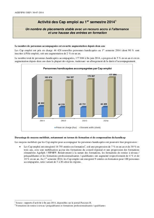 AGEFIPH / DEP / 30-07-2014 Activité des Cap emploi au 1er semestre 20141 Un nombre de placements stable avec un recours ac...