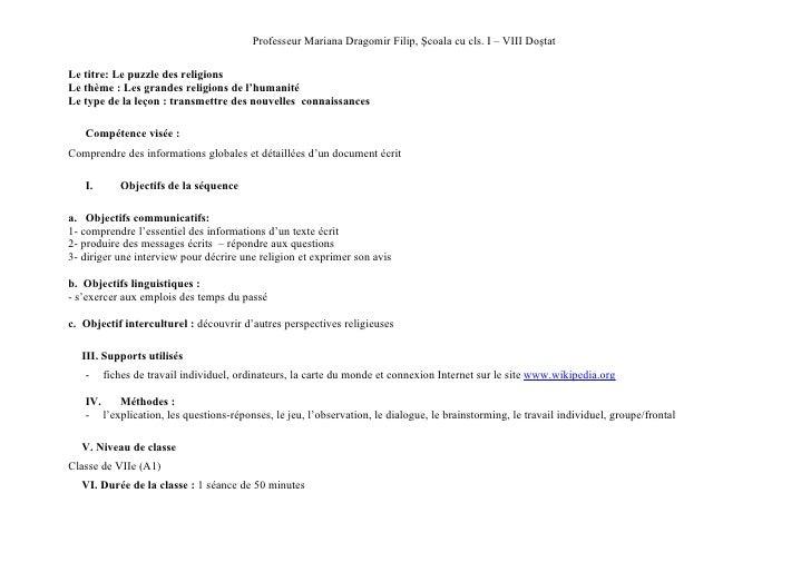 Professeur Mariana Dragomir Filip, Şcoala cu cls. I – VIII DoştatLe titre: Le puzzle des religionsLe thème : Les grandes r...