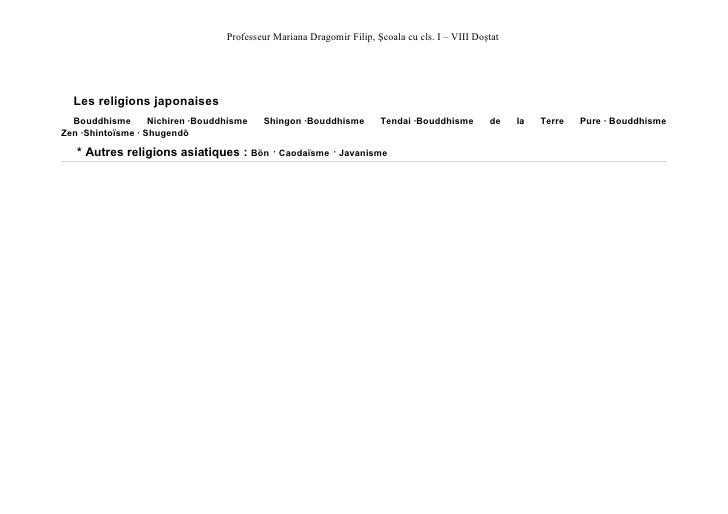 Professeur Mariana Dragomir Filip, Şcoala cu cls. I – VIII Doştat  Les religions japonaises  Bouddhisme       Nichiren ·Bo...