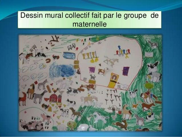 Dessin mural collectif fait par le groupe dematernelle