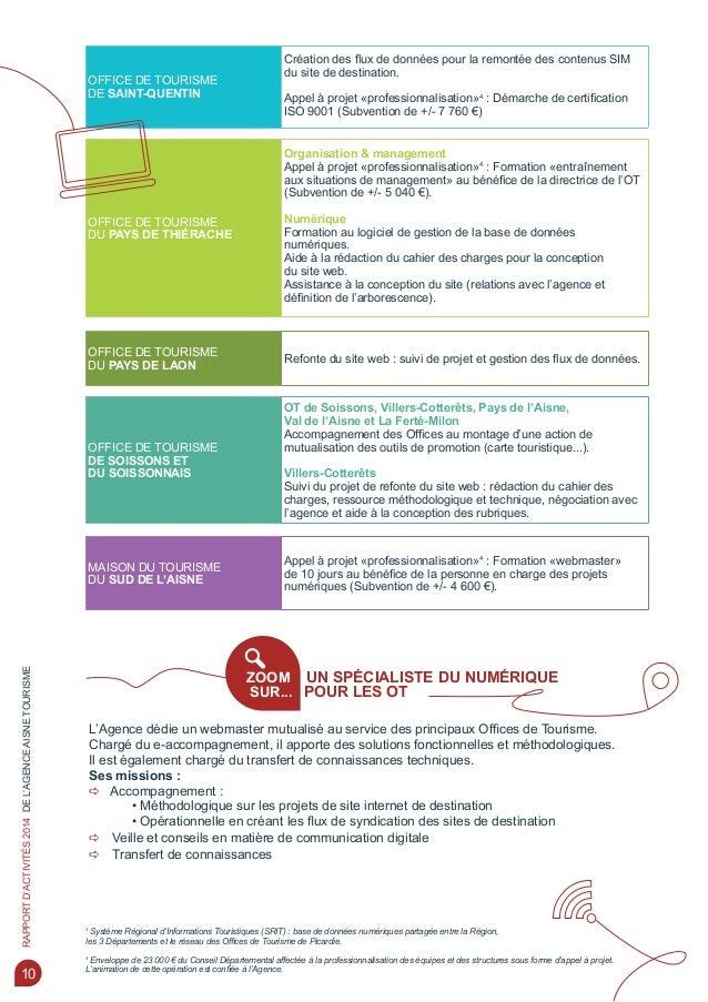 Rapport activites 2014 agence aisne tourisme - Office de tourisme st quentin ...