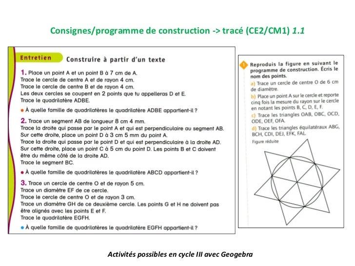 Consignes/programme de construction -> tracé (CE2/CM1) 1.1             Activités possibles en cycle III avec Geogebra