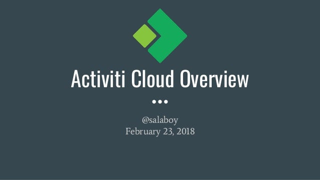 Activiti Cloud Overview @salaboy February 23, 2018