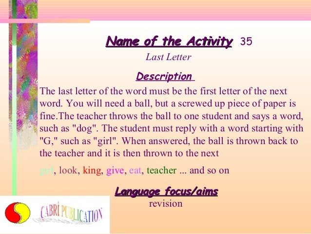 Name Of The Activity 35 Last
