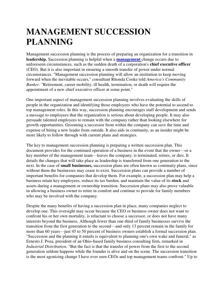 MANAGEMENT SUCCESSIONPLANNINGManagement succession planning is the process of preparing an organization for a transition i...