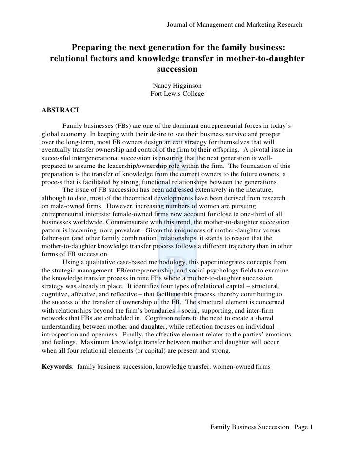 Journal of Management and Marketing Research        Preparing the next generation for the family business:  relational fac...