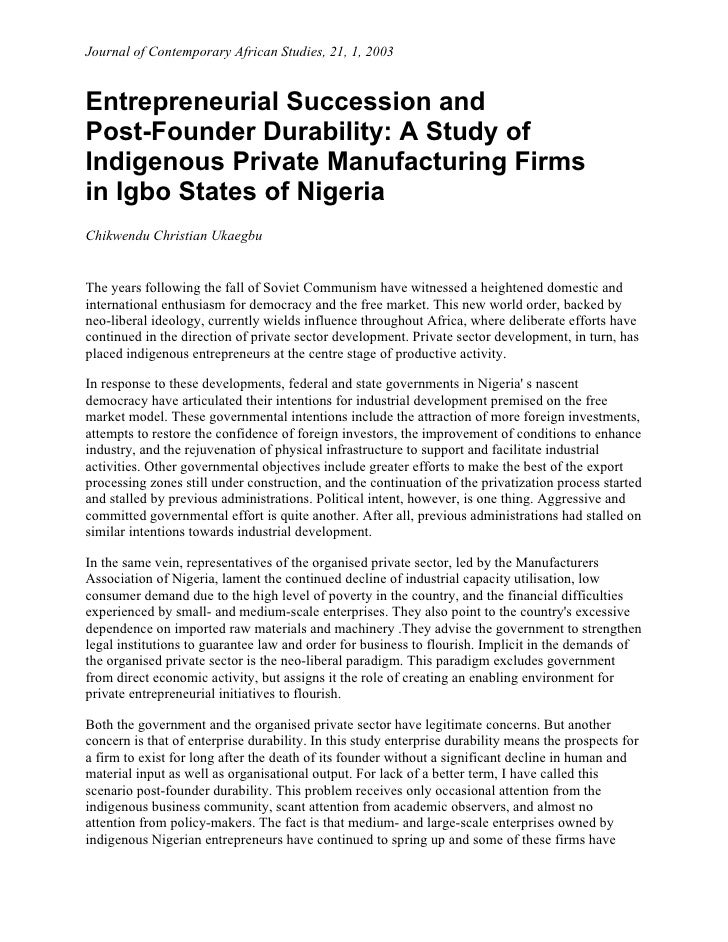 Journal of Contemporary African Studies, 21, 1, 2003Entrepreneurial Succession andPost-Founder Durability: A Study ofIndig...
